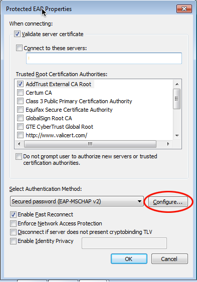 Security enabled wireless network validating identity certificate
